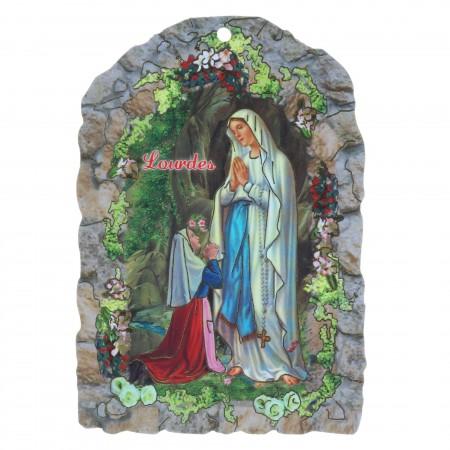 Cadre religieux en bois Vierge Marie, Grotte de Lourdes et Dizainier à la rose 7,5 x 11 cm