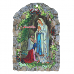 Our Lady and Grotto of Lourdes religious wood frame and rose-scented rosary 7.5 x 11 cm
