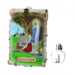 Lourdes Apparition wood frame and 20 ml vial 9.5 x 15 cm