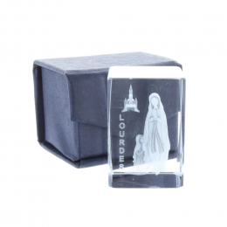 Cubo di vetro inciso laser 3D Apparizione e Basilica di Lourdes 4,5 cm