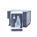 Apparition and Basilica of Lourdes 3D laser etched glass 4.5 cm