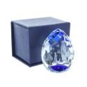3D laser etched glass blue reflections and Lourdes Apparition 5 cm