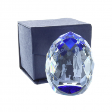 Cubo di vetro inciso laser 3D riflessi azzurri e Apparizione di Lourdes 6 cm