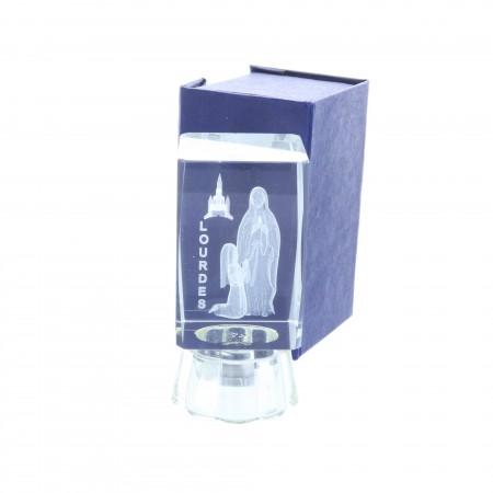 Cubo di vetro inciso laser 3D luminoso e Apparizione di Lourdes 8 cm