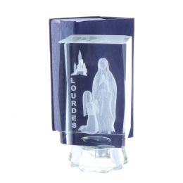 Glowing 3D laser etched glass and Lourdes Apparition 10 cm