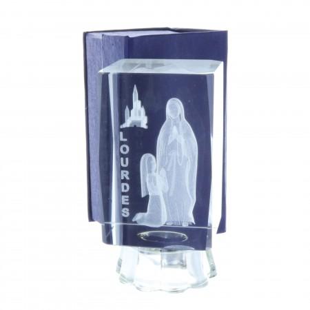 Cubo di vetro inciso laser 3D luminoso e Apparizione di Lourdes 10 cm