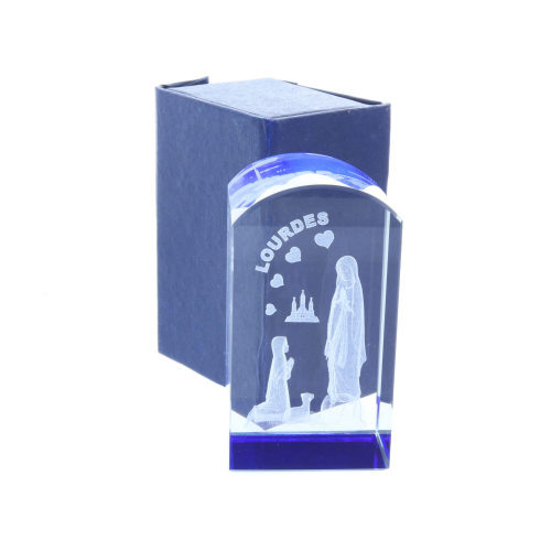 Round 3D laser etched glass blue reflections and Lourdes Apparition 8.5 cm