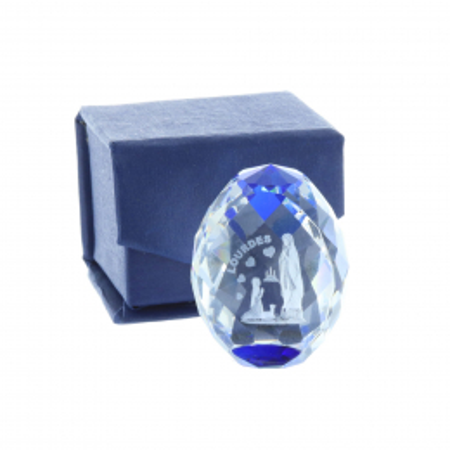 Cubo di vetro inciso laser 3D riflessi azzurri e Apparizione di Lourdes 4 cm