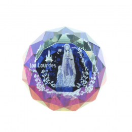 3D laser etched glass colour reflections and Lourdes Apparition 2.5 cm