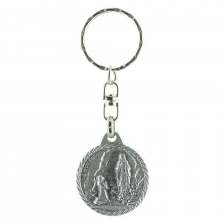 Porte-clés rond Apparition de Lourdes et Saint Christophe