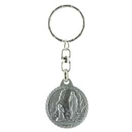 Lourdes Apparition and Saint Christopher round key-ring