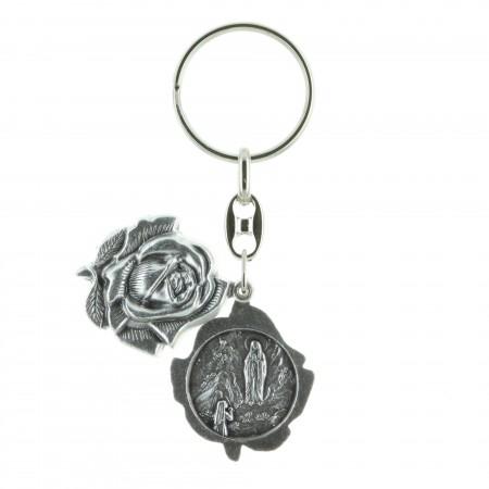 Porte-clés en forme de rose, Apparition de Lourdes et Sainte Bernadette