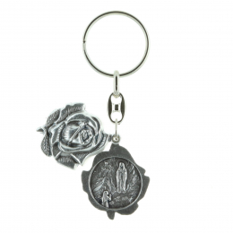 Rose-shaped key-ring, Lourdes Apparition and Saint-Bernadette