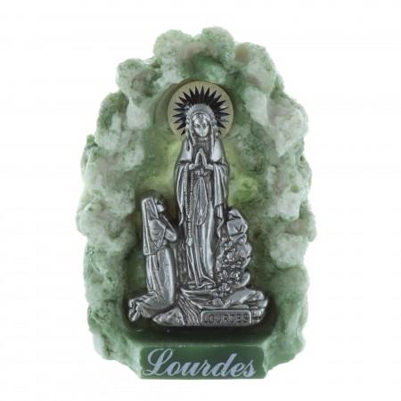Statue Apparition de Lourdes et grotte en résine verte 8 cm