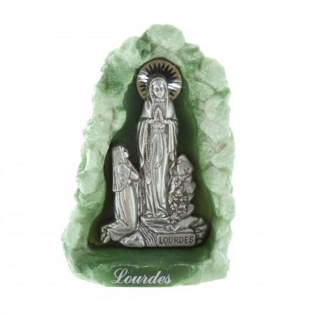 Statue Apparition de Lourdes et grotte en résine verte 12 cm