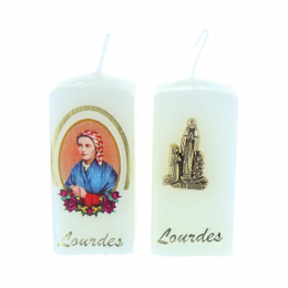 Batch of two Lourdes Apparition square religious candles 6 cm