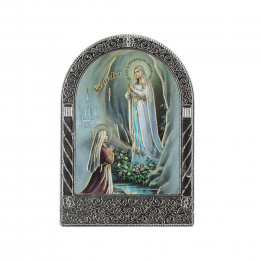 Colour and gold Lourdes Apparition silvery religious picture frame 4,5 x 7 cm