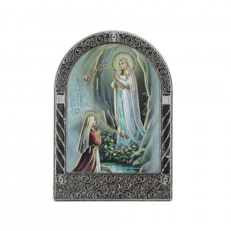Quadretto religioso argentato Apparizione di Lourdes colorata e dorata 4,5 x 7 cm