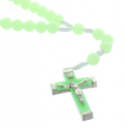 Glow-in-the-dark cord rosary and plastic beads