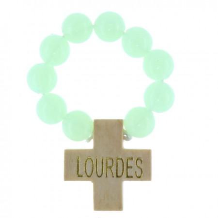 Rosario decina perline luminose e Iscrizione Lourdes