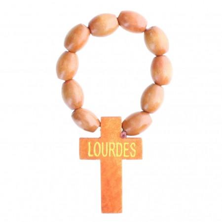 Rosario decina perline di legno e iscrizione Lourdes