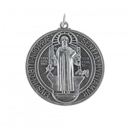 Grande Medaglia metallo argentato San Benedetto 4,8cm