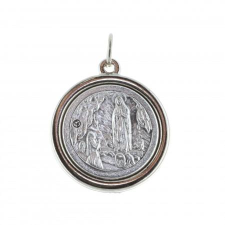Médaille épaisse métal argenté Apparition de Lourdes et portrait Vierge Marie