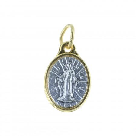 Médaille métal doré et Vierge Miraculeuse argentée
