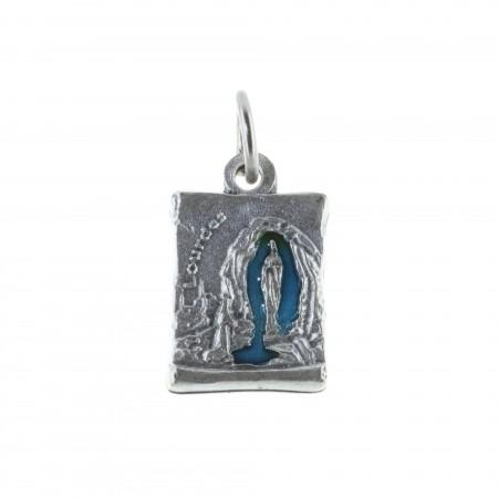 Médaille métal argenté parchemin et Apparition de Lourdes