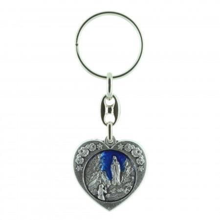 Porte-clés en forme de coeur et Apparition de Lourdes