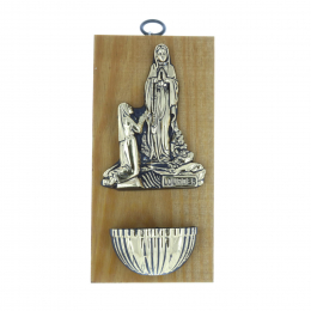 Acquasantiera legno Apparizione di Lourdes dorata 10 x 20 cm