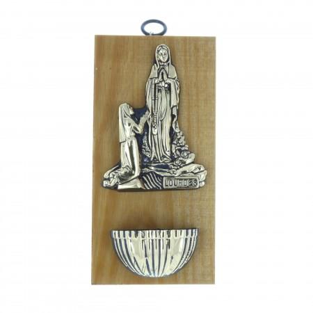 Bénitier bois Apparition de Lourdes dorée 10 x 20 cm