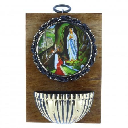 Acquasantiera legno Apparizione di Lourdes dorata e colorata 9 x 13 cm