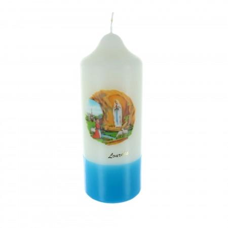 Candele religiose cilindriche di Lourdes basa azzurra 20 cm
