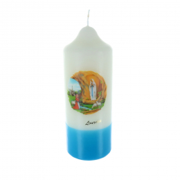 Lourdes round religious candle with a blue base 20 cm