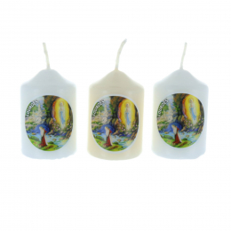 3 pieces set Lourdes Apparition round religious candles 6 cm