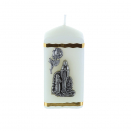 Lourdes Apparition silvery square religious candle 6 cm