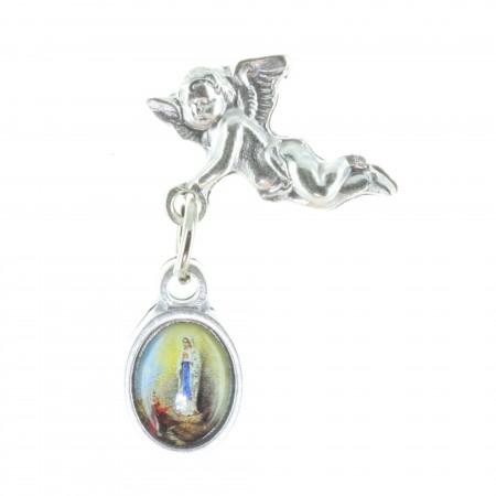 Pin's Ange et médaille Apparition de Lourdes