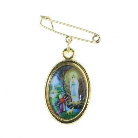 Spilla metallo dorato Apparizione di Lourdes e Madonna Miracolosa