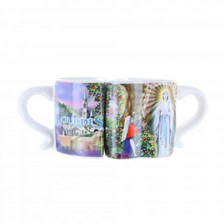 Lot de 2 tasses en forme de coeur et Apparition de Lourdes en boîte