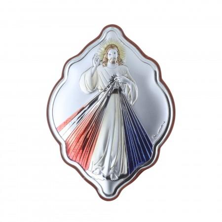 Cadre bois Jésus Miséricordieux argenté 7 x 10 cm