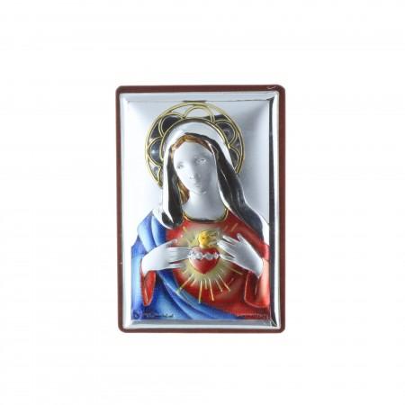 Cadre religieux Sacré Coeur de Marie argenté 4 x 6 cm