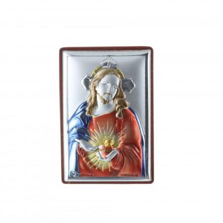 Cadre religieux Sacré Coeur de Jésus argenté 4 x 6 cm