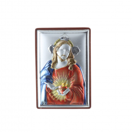 Jesus Sacred Heart silvery religious frame 4 x 6 cm