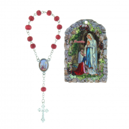 Lourdes Apparition religious wood frame and rose-scented rosary 5 x 7 cm