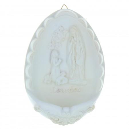 Acquasantiera resina ovale Apparizione Lourdes 16,5cm x 11 cm