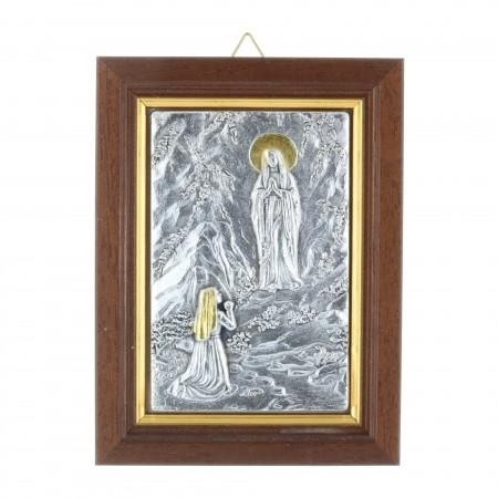 Cadre religieux en bois Apparition de Lourdes argentée 9 x 12 cm