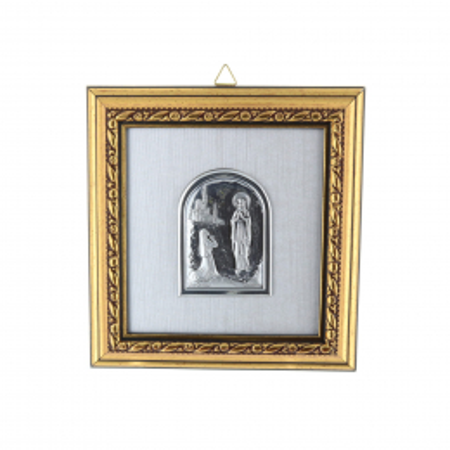 Quadro religioso di legno dorato Apparizione di Lourdes argentata 12,5 x 13 cm