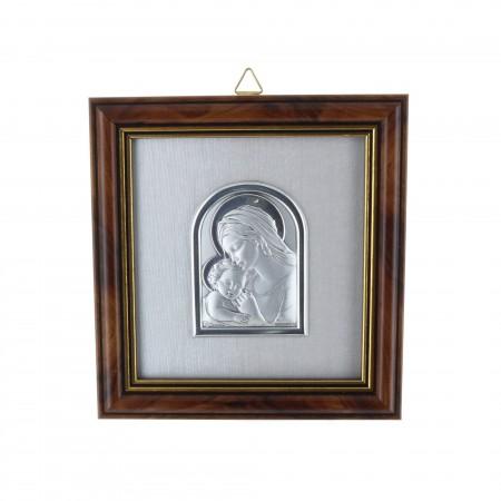 Cadre religieux en bois doré Vierge Marie et l'enfant argentés 11 x 11,7 cm