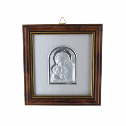 HolyMother and Jesus in a wooden frame with golden sides